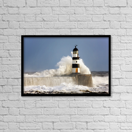"""Printscapes Wall Art: 18"""" x 12"""" Canvas Print With Black Frame - Seaham, Teesside, England by John Short"""
