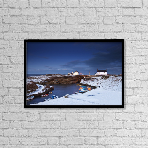 """Printscapes Wall Art: 18"""" x 12"""" Canvas Print With Black Frame - A Village On The Coast by John Short"""