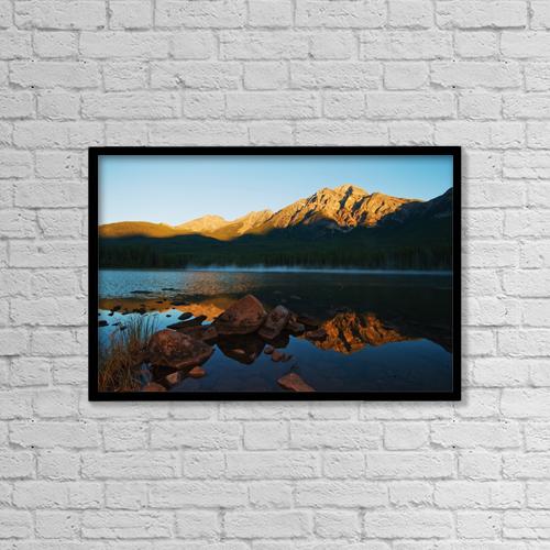 "Printscapes Wall Art: 18"" x 12"" Canvas Print With Black Frame - Jasper National Park, Alberta, Canada by John Kroetch"