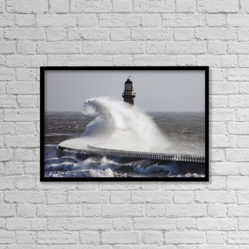 "Printscapes Wall Art: 18"" x 12"" Canvas Print With Black Frame - Sunderland, Tyne And Wear, England by John Short"