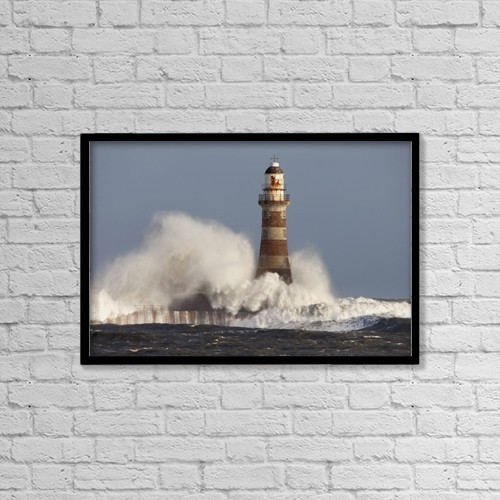"Printscapes Wall Art: 18"" x 12"" Canvas Print With Black Frame - Waves Crashing Against A Lighthouse by John Short"