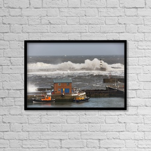"Printscapes Wall Art: 18"" x 12"" Canvas Print With Black Frame - Seaham, Teesside, England by John Short"
