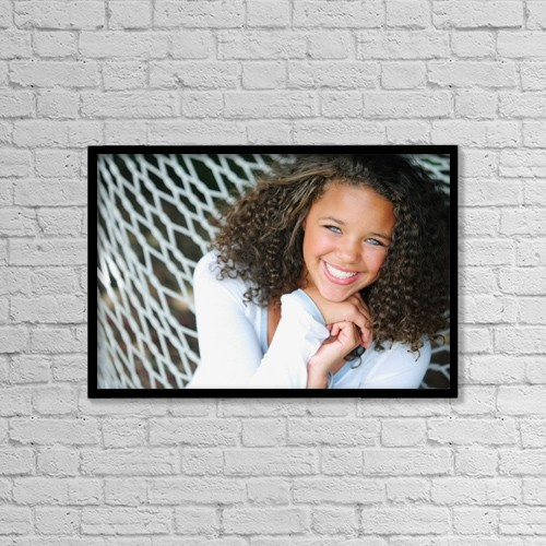"Printscapes Wall Art: 18"" x 12"" Canvas Print With Black Frame - A Young Woman On A Hammock by Colleen Cahill"