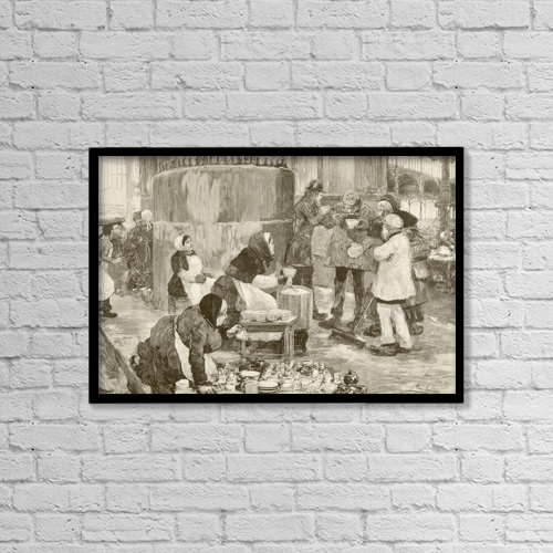 "Printscapes Wall Art: 18"" x 12"" Canvas Print With Black Frame - A Soup Kitchen In Paris, France, In The 1880's by Ken Welsh"