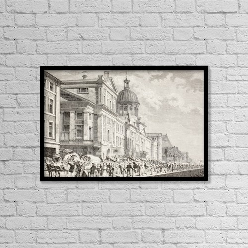 "Printscapes Wall Art: 18"" x 12"" Canvas Print With Black Frame - The Bonsecours Market In Montreal, Canada by Ken Welsh"