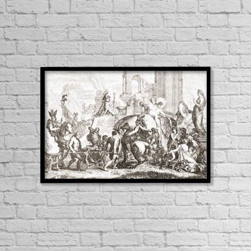 "Printscapes Wall Art: 18"" x 12"" Canvas Print With Black Frame - Alexander The Great Enters Babylon In 331Bc by Ken Welsh"