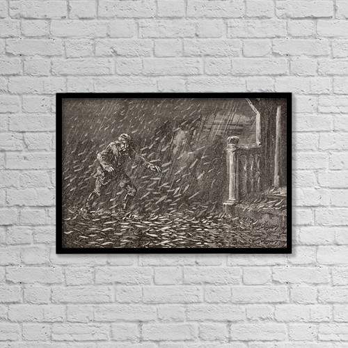 """Printscapes Wall Art: 18"""" x 12"""" Canvas Print With Black Frame - A Shower Of Fish In Transylvania, Romania by Ken Welsh"""