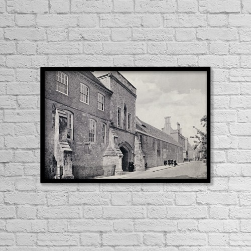 "Printscapes Wall Art: 18"" x 12"" Canvas Print With Black Frame - Winchester College by Ken Welsh"