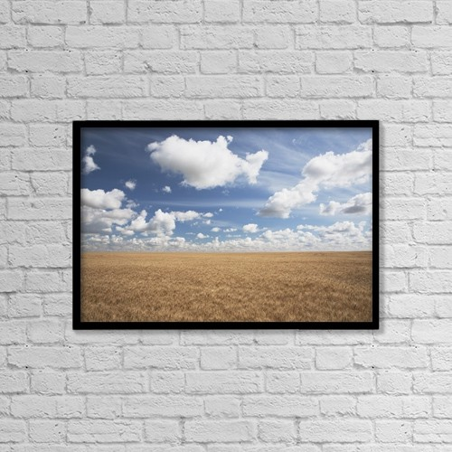 "Printscapes Wall Art: 18"" x 12"" Canvas Print With Black Frame - Wheat Field And Clouds In The Sky by Michael Interisano"