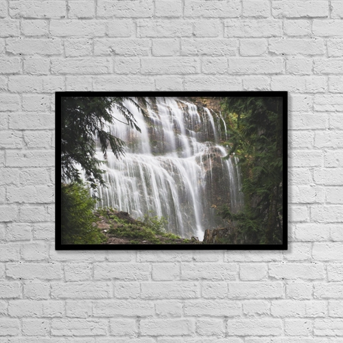 "Printscapes Wall Art: 18"" x 12"" Canvas Print With Black Frame - Bridal Veil Falls by Michael Interisano"