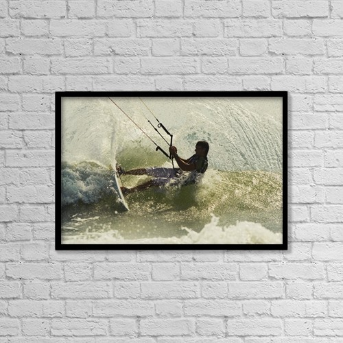 "Printscapes Wall Art: 18"" x 12"" Canvas Print With Black Frame - Man Kitesurfing by Ben Welsh"
