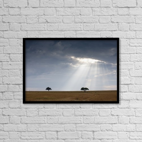 """Printscapes Wall Art: 18"""" x 12"""" Canvas Print With Black Frame - Acacia Trees, Kenya, Africa by Keith Levit"""