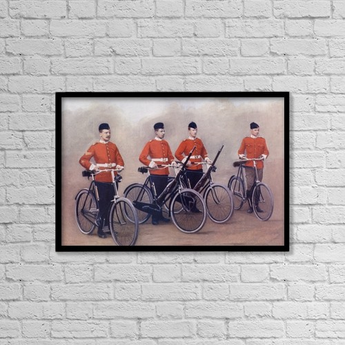 "Printscapes Wall Art: 18"" x 12"" Canvas Print With Black Frame - Cyclists Of The Lancashire Fusiliers by Ken Welsh"