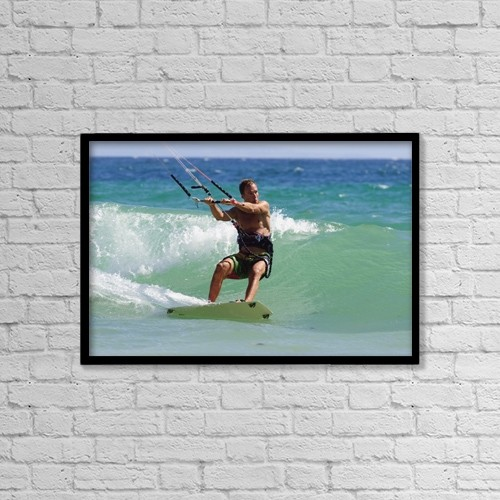 "Printscapes Wall Art: 18"" x 12"" Canvas Print With Black Frame - Man Kite Surfing by Ben Welsh"