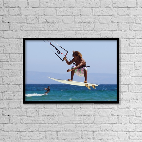 """Printscapes Wall Art: 18"""" x 12"""" Canvas Print With Black Frame - Man Kite Surfing by Ben Welsh"""
