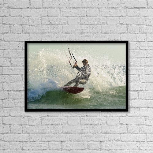 """Printscapes Wall Art: 18"""" x 12"""" Canvas Print With Black Frame - Man Kitesurfing by Ben Welsh"""