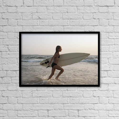 "Printscapes Wall Art: 18"" x 12"" Canvas Print With Black Frame - Young Girl With Surfboard by Ben Welsh"