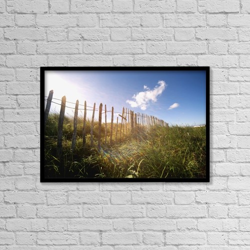 "Printscapes Wall Art: 18"" x 12"" Canvas Print With Black Frame - Fence In A Field by John Short"