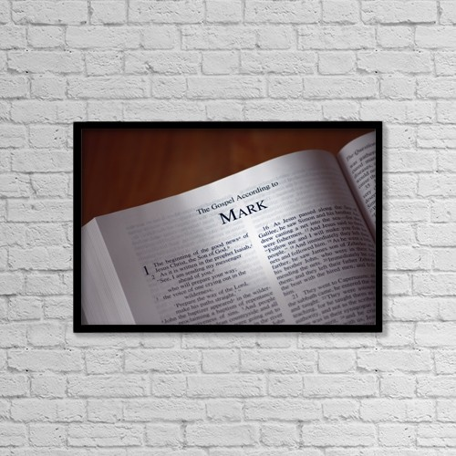"Printscapes Wall Art: 18"" x 12"" Canvas Print With Black Frame - The Bible Opened To The Book Of Mark by Colette Scharf"