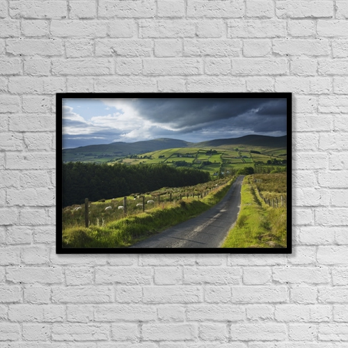 "Printscapes Wall Art: 18"" x 12"" Canvas Print With Black Frame - Roads by Gareth McCormack"
