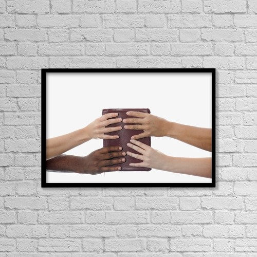 "Printscapes Wall Art: 18"" x 12"" Canvas Print With Black Frame - Interracial Hands Holding Up A Bible by Design Pics CEF"