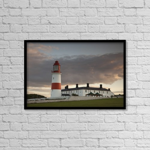 "Printscapes Wall Art: 18"" x 12"" Canvas Print With Black Frame - Lighthouse, Tyne And Wear, England by John Short"
