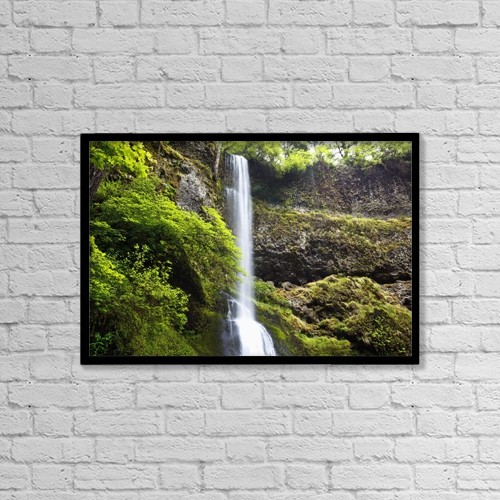 "Printscapes Wall Art: 18"" x 12"" Canvas Print With Black Frame - Winter Falls In Silver Falls State Park by Craig Tuttle"