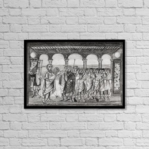 """Printscapes Wall Art: 18"""" x 12"""" Canvas Print With Black Frame - Moses Giving The Law by Ken Welsh"""