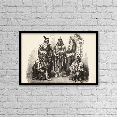 "Printscapes Wall Art: 18"" x 12"" Canvas Print With Black Frame - A Group Of Sioux Indians by Ken Welsh"
