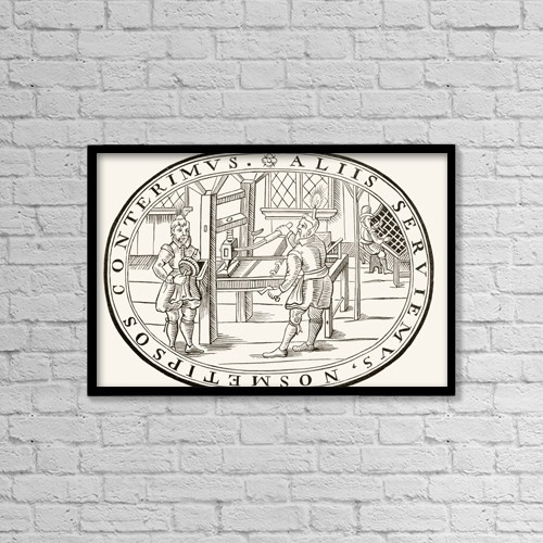 "Printscapes Wall Art: 18"" x 12"" Canvas Print With Black Frame - An English Printing Office, 1619 by Ken Welsh"