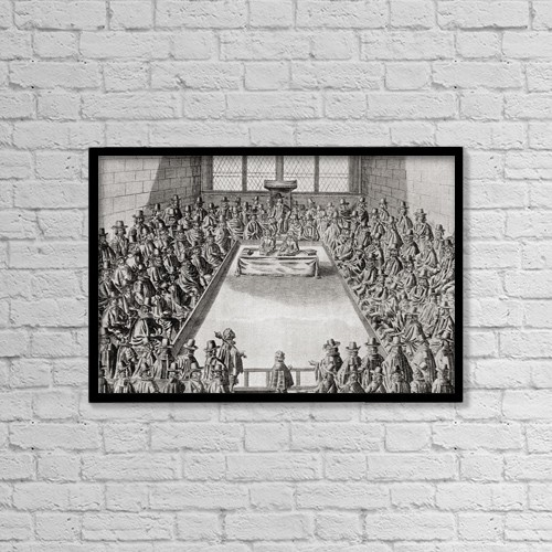 "Printscapes Wall Art: 18"" x 12"" Canvas Print With Black Frame - The House Of Commons In The Time Of Charles I by Ken Welsh"