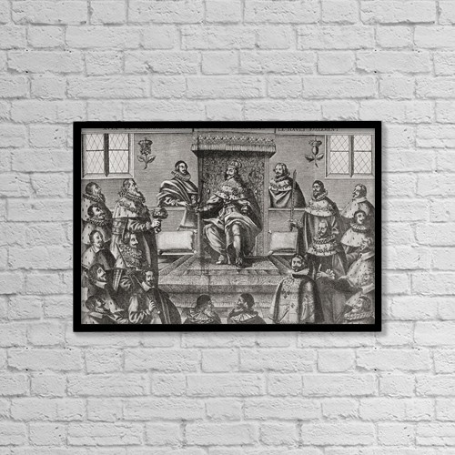 """Printscapes Wall Art: 18"""" x 12"""" Canvas Print With Black Frame - Charles I In The House Of Lords, 1648 by Ken Welsh"""