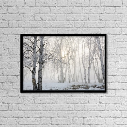 """Printscapes Wall Art: 18"""" x 12"""" Canvas Print With Black Frame - Ontario, Canada; Birch Trees In The Fog by Susan Dykstra"""