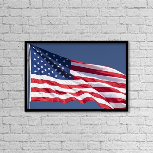 """Printscapes Wall Art: 18"""" x 12"""" Canvas Print With Black Frame - Flag Of The United States Of America by Craig Tuttle"""