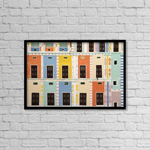 "Printscapes Wall Art: 18"" x 12"" Canvas Print With Black Frame - Bright Multicolored Building, Close Up by Toby Adamson"