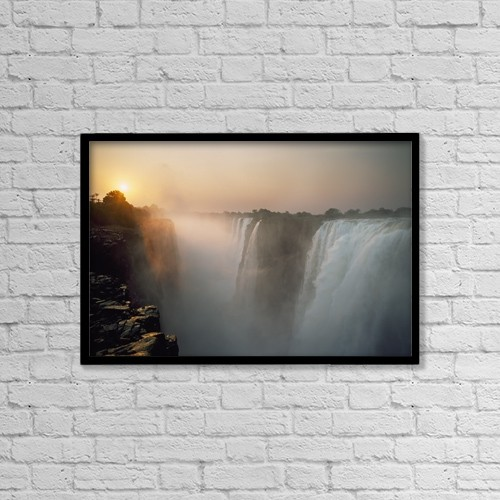 "Printscapes Wall Art: 18"" x 12"" Canvas Print With Black Frame - Victoria Falls At Dusk by Ian Cumming"