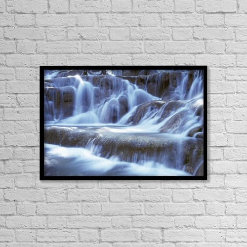 "Printscapes Wall Art: 18"" x 12"" Canvas Print With Black Frame - Water And Rock At Dunns River Falls, Close Up by Ian Cumming"
