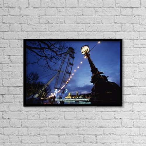 """Printscapes Wall Art: 18"""" x 12"""" Canvas Print With Black Frame - London Eye At Night by Chris Parker"""