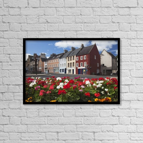 "Printscapes Wall Art: 18"" x 12"" Canvas Print With Black Frame - Flowers Along A Street In A Residential Area by John Short"