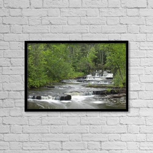 "Printscapes Wall Art: 18"" x 12"" Canvas Print With Black Frame - Cascading Falls Along A Creek by Susan Dykstra"