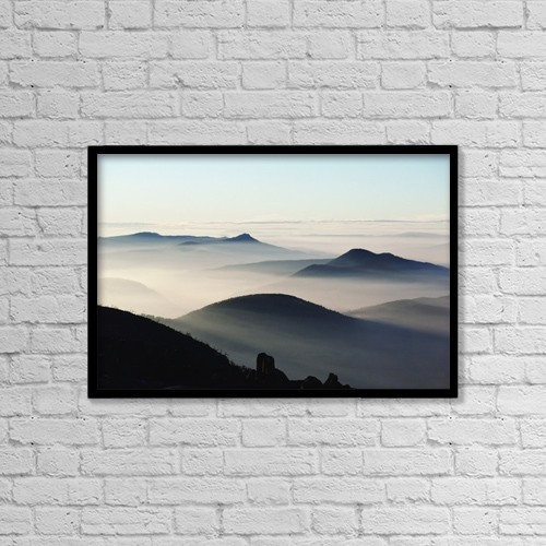 """Printscapes Wall Art: 18"""" x 12"""" Canvas Print With Black Frame - Mist And Mountains by Michael Coyne"""