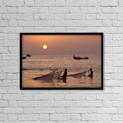 "Printscapes Wall Art: 18"" x 12"" Canvas Print With Black Frame - Fishermen Holding Nets In Sea At Sunset by James Sparshatt"