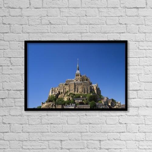 "Printscapes Wall Art: 18"" x 12"" Canvas Print With Black Frame - Mont Saint-Michel by Ellen Rooney"
