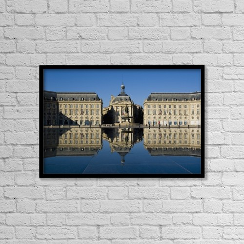 "Printscapes Wall Art: 18"" x 12"" Canvas Print With Black Frame - Place De La Bourse by Charles Bowman"