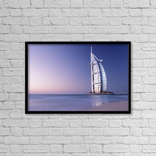 "Printscapes Wall Art: 18"" x 12"" Canvas Print With Black Frame - The Burj Al-Arab Or Arabian Tower At Dusk by Ian Cumming"