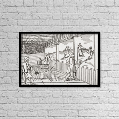 """Printscapes Wall Art: 18"""" x 12"""" Canvas Print With Black Frame - Playing Tennis In The Sixteenth Century by Ken Welsh"""