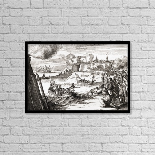 """Printscapes Wall Art: 18"""" x 12"""" Canvas Print With Black Frame - James Ii Landing At Kinsale, Ireland In 1679 by Ken Welsh"""