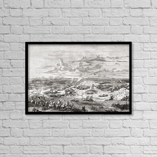 """Printscapes Wall Art: 18"""" x 12"""" Canvas Print With Black Frame - The Battle Of Blenheim, Bavaria, 1704 by Ken Welsh"""
