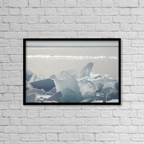 "Printscapes Wall Art: 18"" x 12"" Canvas Print With Black Frame - Ice Chunks On The Shores Of Lake Superior by Susan Dykstra"