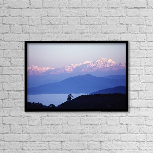 """Printscapes Wall Art: 18"""" x 12"""" Canvas Print With Black Frame - View Of The Himalayas In Gorkha Region by Chris Caldicott"""